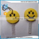 Customized Silicone Soft PVC Rubber key cover/smiling face key cap