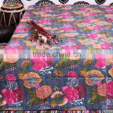 Indian Kantha Quilt Queen King Hand stitched Quilts Designer Vintage Handamde Ethnic Flower Prints Quilts