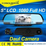 "HD 5"" LCD Dual Lens Dash Cam Video Recorder night vision Car Camera DVR 2 In 1 Rearview Mirror+Front Car DVR+Rear view Camera"