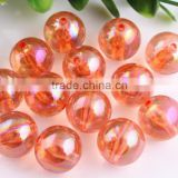 Orange AB Color Bulk Price 10MM to 20MM Stock Round Acrylic AB Effect Transparent Beads for Chunky Necklace Wholesales