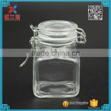 IN stock 100ml square Airtight Seal Lock Lid Glass Jar for Kitchen / Kitchen Glass Jar with pull-ring lid