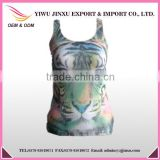 New Fashion Wholesale OEM Service Sexy Tiger Picture Custom Printed Gym Women's Tank Top
