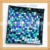 15-45cm Square Blue Color hand painted Mosaic Pattern glass decorative glass plate wall art