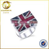 good quality England flag designs micro pave ruby and blue man ring white gold