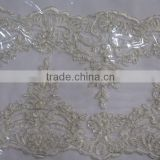 Lace Product Type Garment Accessories with Silver Corded Beaded Bridal trim/Fabric Manufacturer Cheap Stretch Lace Trim                                                                         Quality Choice