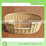 Factory wholesale durable wicker pet basket willow basket for dogs comfortable pet bed with cushion