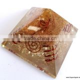 Crystal Stone Pyramid | Big Orgone Crystal Pyramid With 4 Copper Spring And Crystal Point