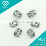 ND1 baguett Diamond-Look Acrylic Rhinestone Buttons 2 Holes Faceted Sew On Button Box garment accessories scrapbooking DIY craft