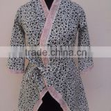 Customized Best Quality Hotel Spa Using 100% Cotton Hand-block Printed Bathrobe For woman