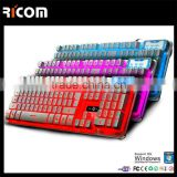 7 colors backlight gaming keyboard ,game membrane keyboard with colorful backlight for sale----LK613--Shenzhen Ricom