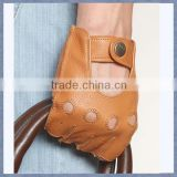 Top Quality Men Genuine Sheepskin Leather Outdoor Bicycle Gloves Half Finger Rding Glove