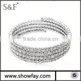 2015 bead Fashion Bangles , Hot Sell In Usa Multi-turn Rhodium Plated Crystal Bangle