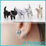 New Arrival 3D Pearl Kitty Cat Cute Stud Earrings set wholesales for Women Girl White Black Gold Silver 4 Colors