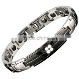 FDA tourmaline bio magnetic fashion crystal health energy stainless steel heavy bracelets