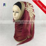 Wholesale Fashion Wedding Diamond Muslim Hijab Embroidery Scarf Women Shawl Scarves