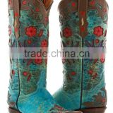 Womens Brown Turquoise Robin Flower Print Western Leather Rodeo Cowgirl Boots