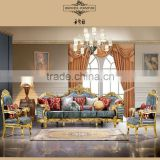 european antique royal luxury hand carving gold /silver velvet fabric sofa in living room furniture