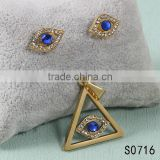 Spain latest model gold plated blue crysyal eye shaped jewelry with diamonds