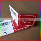 High end custom black card paper hang tag/center folded swing tag