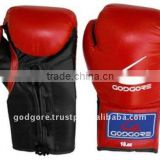 Training and Competition Laces Closure Series Fine Quality Leather Plain Red and Black Kick Boxing Gloves