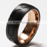 8MM stainless steel Ring Wedding Engagement Rings for Men with arrowed Black Carbon Fiber