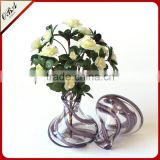 Creative European Style Small Clear Glass Vase / Murano Hand Blown Art Glass Vase For Wedding Centerpieces