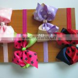 5inch Star Printed Big Ribbon Bows Hair Bow with Soft Headband Baby Headband Hair Accessory Hairband