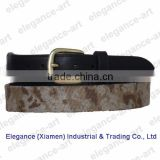 New Style Mens Black Leather Needlepoint Belt with Pin Buckle, Customized Logos are Welcome