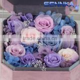 on sale Customized type accepted Preserved flower Velvet Gift Box including Rose,hydrangea and moss