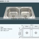 Stainless steel insert double bowl kitchen sink