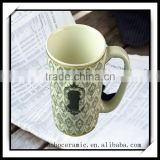 Stoneware matt black color ceramic mug /embossed logo print /350 ml / 12 Oz matte black coffee mug