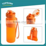 Promotional foldable food grade silicone soft water bottle with cap