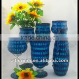 Asian Antiques Tall Colored Mosaic Table Vase Modern Cheap Royal Blue Wedding Decoration
