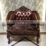 Victorian Grape Carved Chaise Lounge Sofa