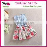 Baby Girl Denim Dress Children Sleeveless Clothing Summer Style Kids Princess Flower Clothes Girls Dresses