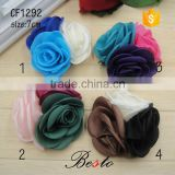 Fine workmanship three color rose shape satin flower for the headband