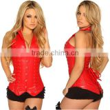 Genuine Leather Corset with Collar Backless Fatastic red Corset with straps Top Quality Cheap price