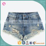 2016 custom fashion rivet ripped apparel young girl summer sexy women jeans shorts short pants half pants cotton girls