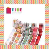 Multicolor customized Japan washi tape 1.5cm*10m cut by hand adhesive paper tape whole roll no trace removeable