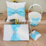 Light blue bow-knot with Beads Decoration wedding guest book /pen holder/ring pillow/flower basket set