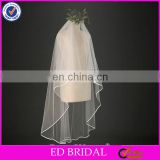 A04 Elegant Short And Long Ribbon Trim Two Layers Cheap Wholesale Bridal Veil Wedding
