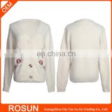 Rib knit eastern style kid clothes as flower pattern V-Neck sweater Shirt of embroidery textile