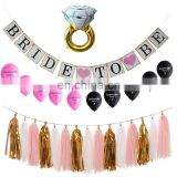 Hen party bride to be banner bachelorette foil ring balloon bridal shower tassel garland