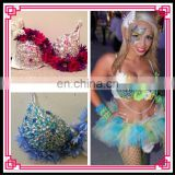 Aidocrystal Handmade Halloween Tassels Brazilian Carnival Party Costume Bra With Feather