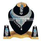 Latest Most Charming Turquoise Color Silver Plated Kundan Zerconic Necklace Earrings Tikka