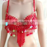 YD-060 Egyptian tribal beaded tassel sexy belly dance bra top