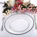 Holy handmade clear glass wedding gold/silver/black/rose red color beaded charger event plates wholsale