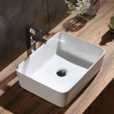 Rectangle ceramic bathroom white color cheap price deep no hole tabletop wash basin