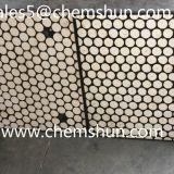 Rubber ceramic liner as the composite including alumina ceramics vulcanized in rubber on the steel plate with bolts