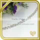 Cheap price silver crystal metal necklace rhinestone chain bridal trim for dresses FC641